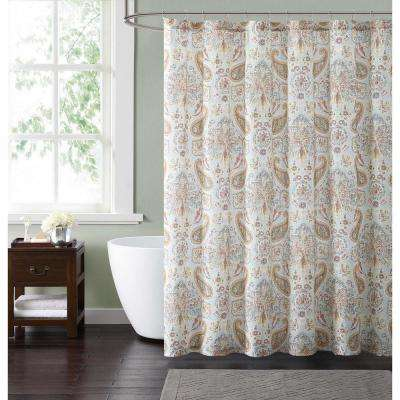 Manchester 72 in. Blue and Neutral Shower Curtain