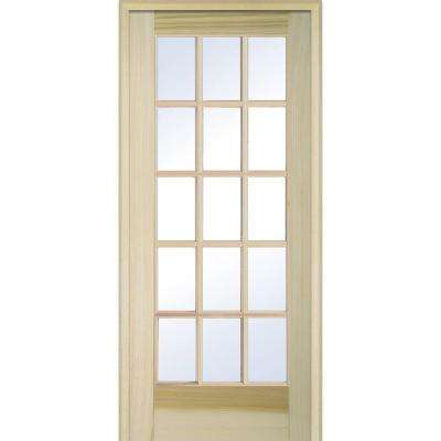 36 in. x 80 in. Right Handed Unfinished Poplar Wood Clear Glass 15 Lite True Divided Single Prehung Interior Door