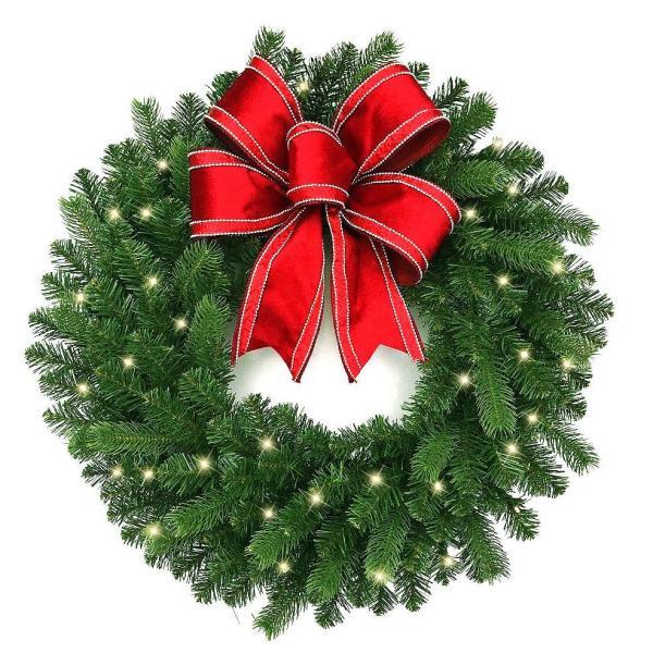 30 in. Blanton Pre-Lit LED Artificial Douglas Wreath with Ribbon, 35 Warm White Lights