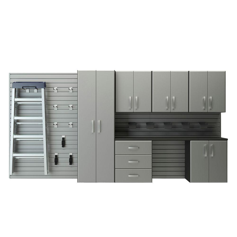 Flow Wall Deluxe Modular Wall Mounted Garage Cabinet Storage Set With  Workstation And Accessories In Silver