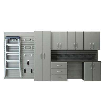 Deluxe Modular Wall Mounted Garage Cabinet Storage Set with Workstation and Accessories in Silver (22-Piece)