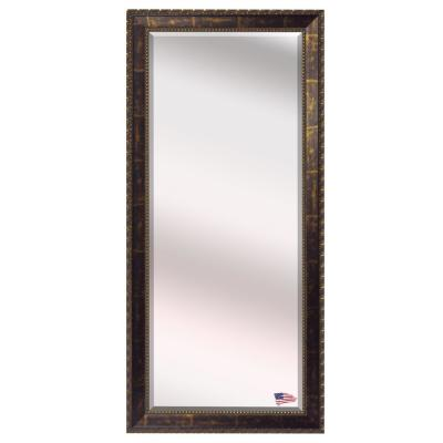 Oversized Cracked Bronze Wood Beveled Glass Modern Mirror (71 in. H X 30.5 in. W)
