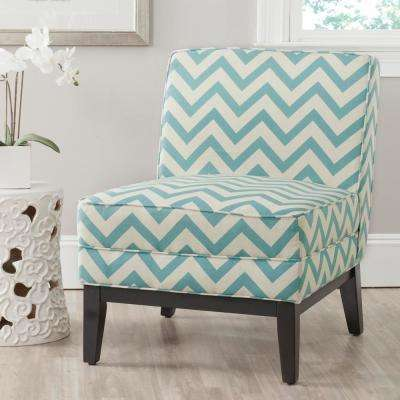 Armond Blue and White Linen/Polyester Accent Chair