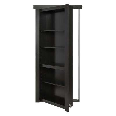30 in. x 80 in. Flush Mount Assembled Paint Grade Black Left Hand Out-Swing Solid Core Interior Bookcase Door