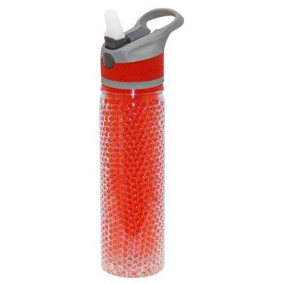 19 oz. Gray and Red Double Wall Plastic Tritan Hydration Bottle with Beaded Freeze Gel (6-Pack)