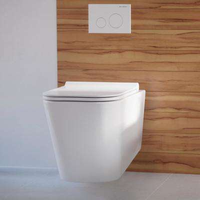 0.8/1.28 GPF Concorde Wall Hung Square Dual Flush Elongated Toilet Bowl in White
