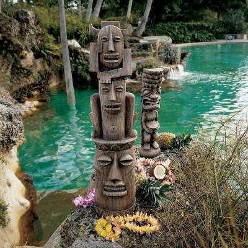 Tiki Gods The Art of Celebration Luau and 3 Pleasures Gods Statue Set (2-Piece)