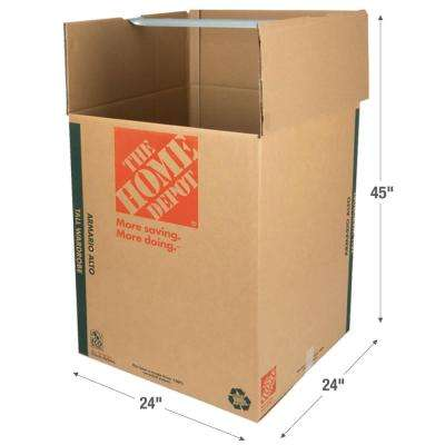 24 in. L x 24 in. W x 45 in. D Heavy Duty Tall Wardrobe Box with Metal Hanging Bar