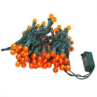 70-Light LED Orange Plastic Globe Electric String Light