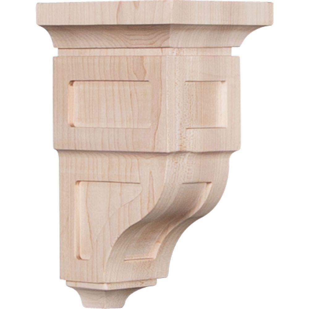 4 in. x 8 in. x 4-3/4 in. Red Oak Small Reyes Wood Corbel