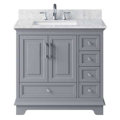 McAuley 35.28 in. W x 21.65 in. D x 33.86 in. H Bath Vanity in Taupe Grey w/ Marble Vanity Top in White w/ White Basin
