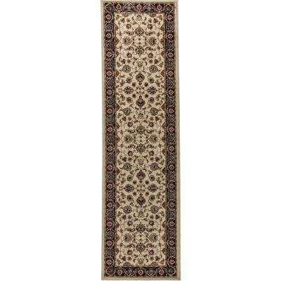 Barclay Sarouk Ivory 3 ft. x 10 ft. Traditional Floral Runner Rug