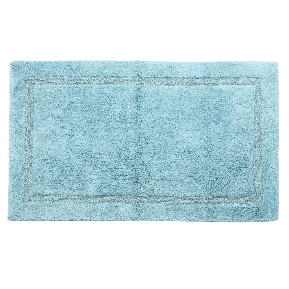 34 in. x 21 in. Cotton Bath Rug in Artic Blue