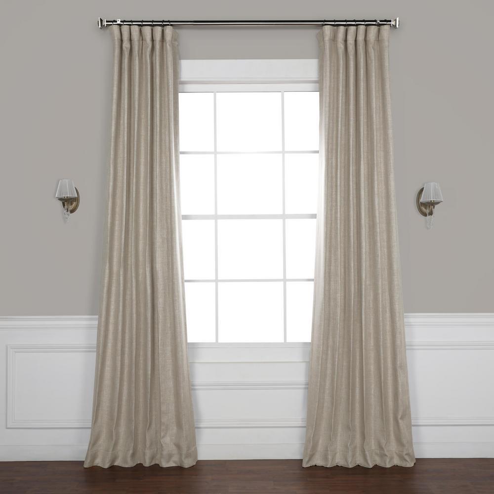 Oatmeal Beige Faux Linen Blackout Curtain - 50 in. W x 96 in. L