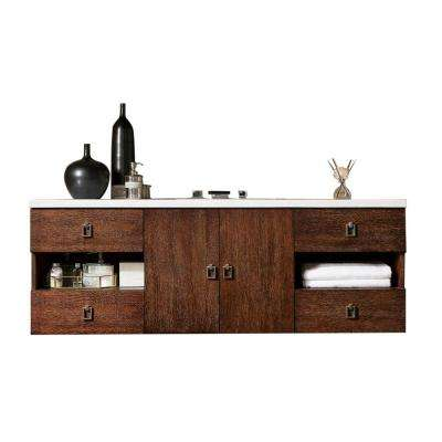 Sonoma 60 in. W Single Vanity in Coffee Oak with Solid Surface Vanity Top in Arctic Fall with White Basin
