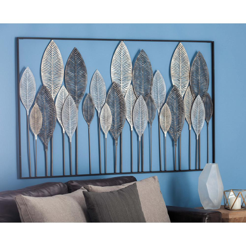 59 In. X 37 In. Natural Black, White And Bronze Metal Leaf