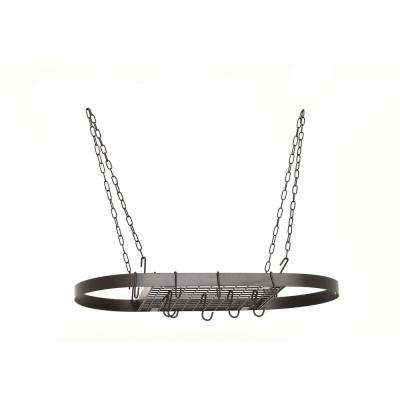 1.75 in. x 17.25 in. X 33 in. Oval Matte Black Hanging Pot Rack