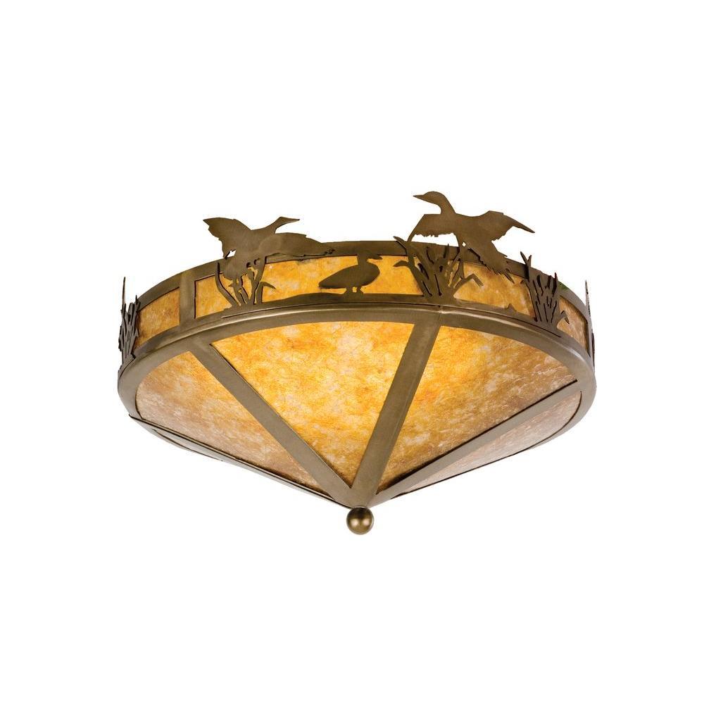 Illumine 2 Light Ducks in Flight Flushmount Antique Copper Finish Mica Glass
