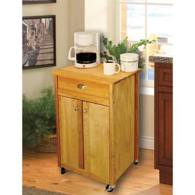 Natural Wood Kitchen Cart with Towel Rack