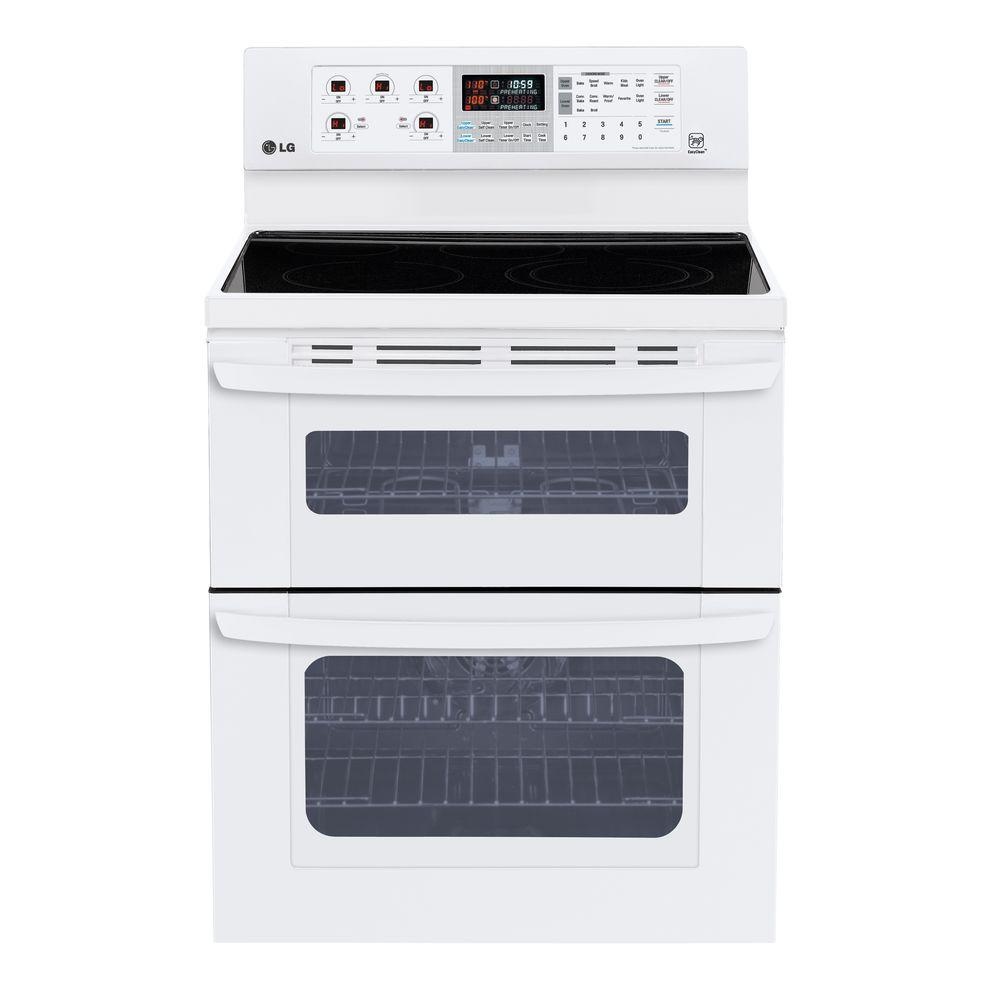 LG Electronics 6.7 cu. ft. Double Oven Electric Range with EasyClean Self-Cleaning Oven in Smooth White
