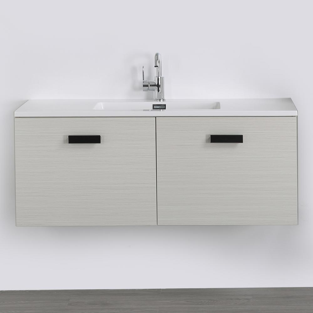 Streamline 47.2 in. W x 18.1 in. H Bath Vanity in Gray with Resin Vanity Top in White with White Basin