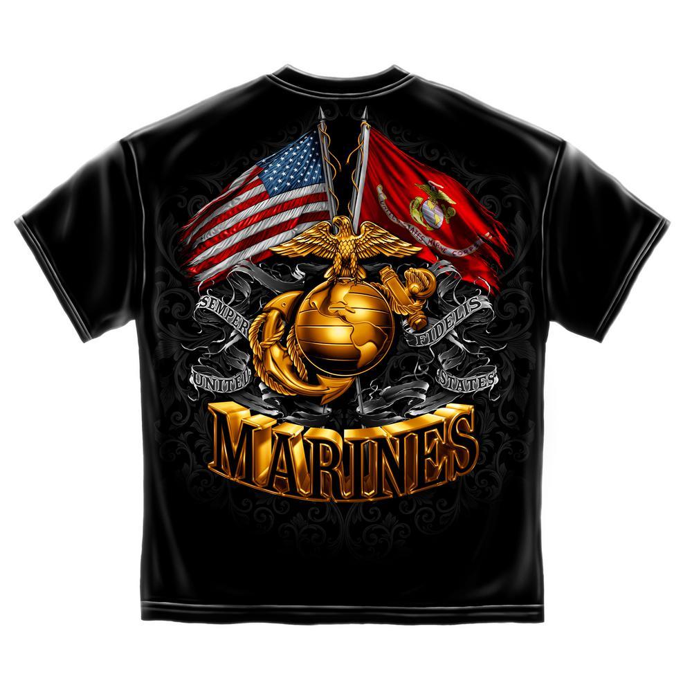 Men's XX-Large Short Sleeved Double Flag Marine Black T-Shirt