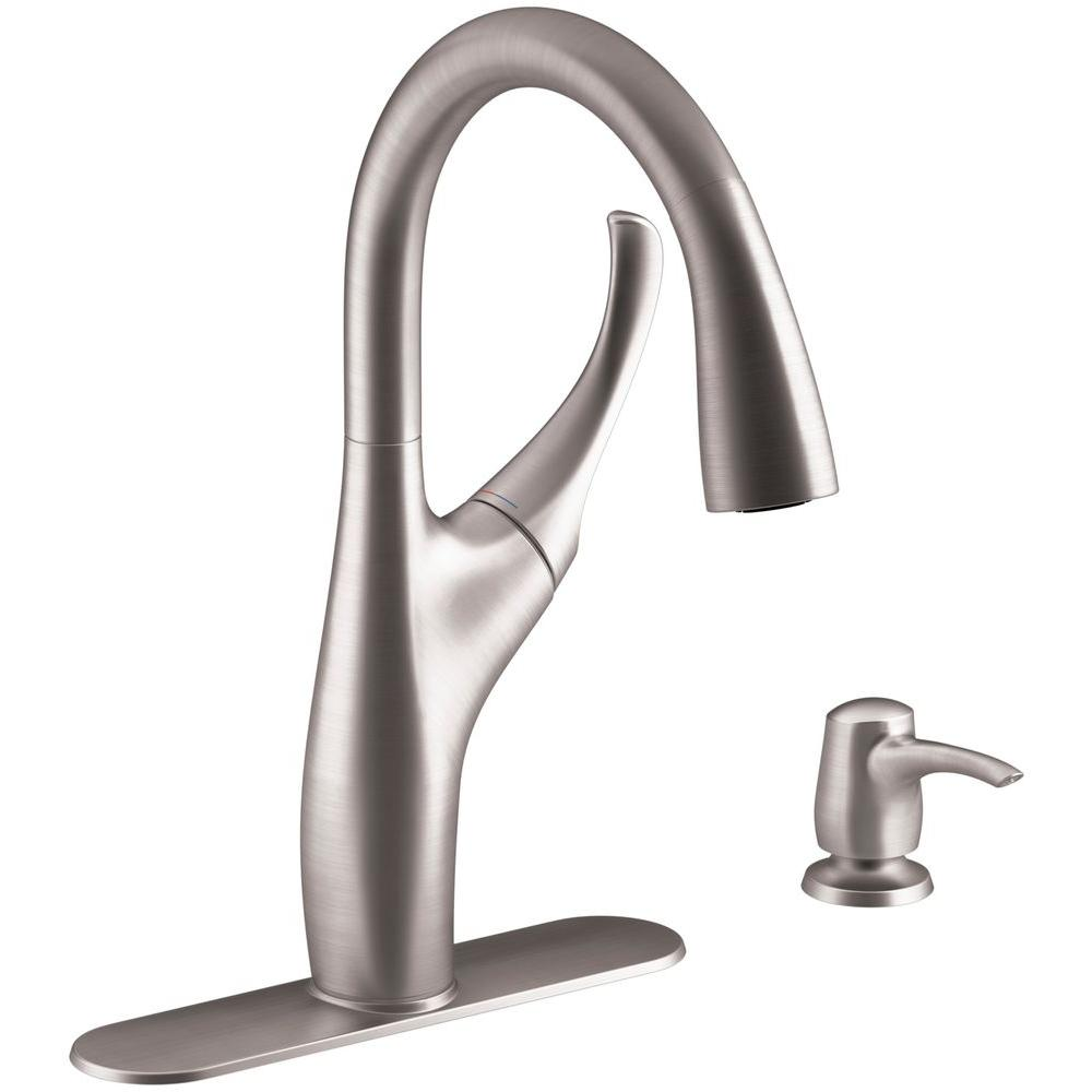 KOHLER Mazz Single-Handle Pull-Down Sprayer Kitchen Faucet in Vibrant Stainless