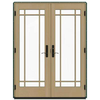 60 in. x 80 in. W-4500 Hartford Green Prehung Left-Hand Inswing French Patio Door with Contemporary Frame