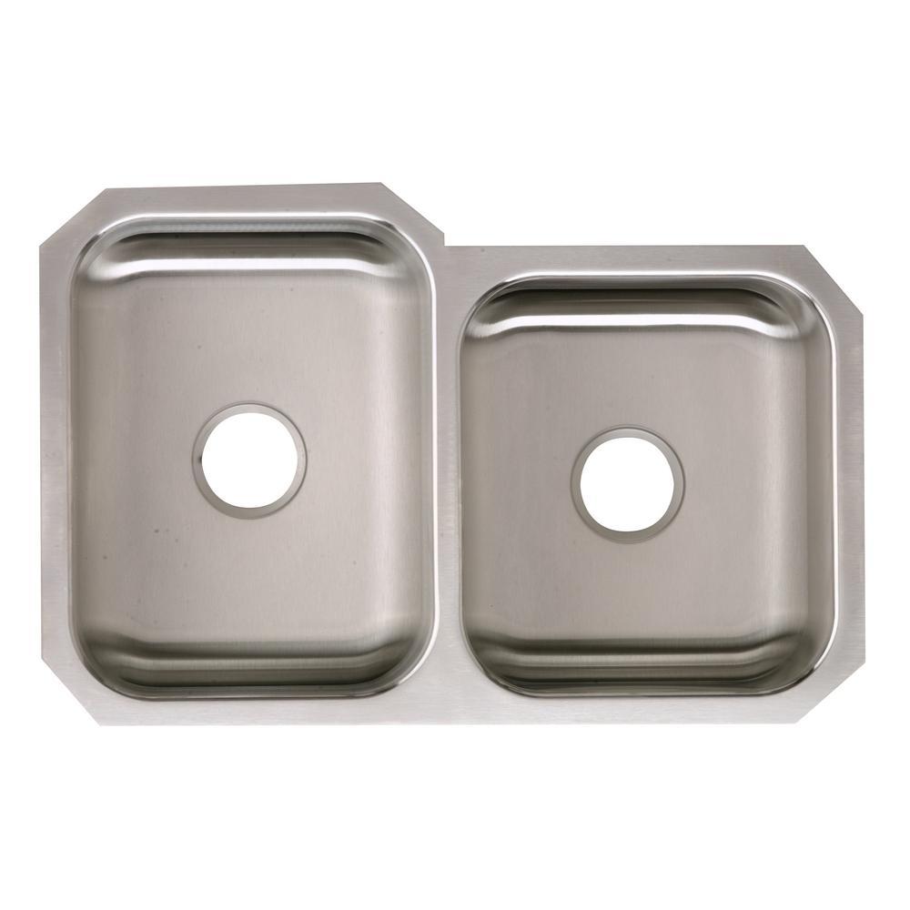 elkay signature plus undermount stainless steel 32 in double bowl kitchen sink - Home Depot Kitchen Sinks