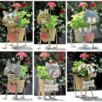 Assorted Metal Dog and Cat Flower Pots (6-Set)