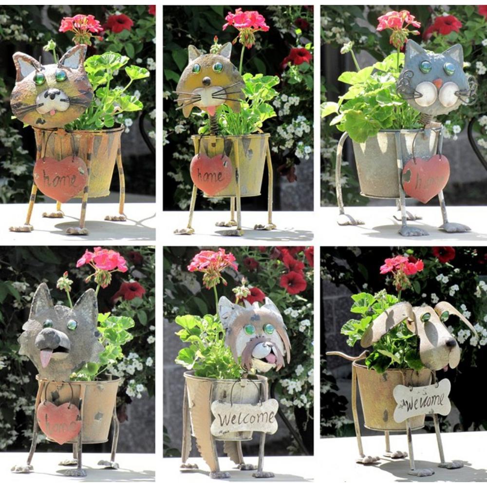 Assorted Metal Dog and Cat Flower Pots (6-Set)