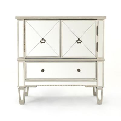 Ryanne Silver Faux Wood Accent Cabinet with Mirrored Panels