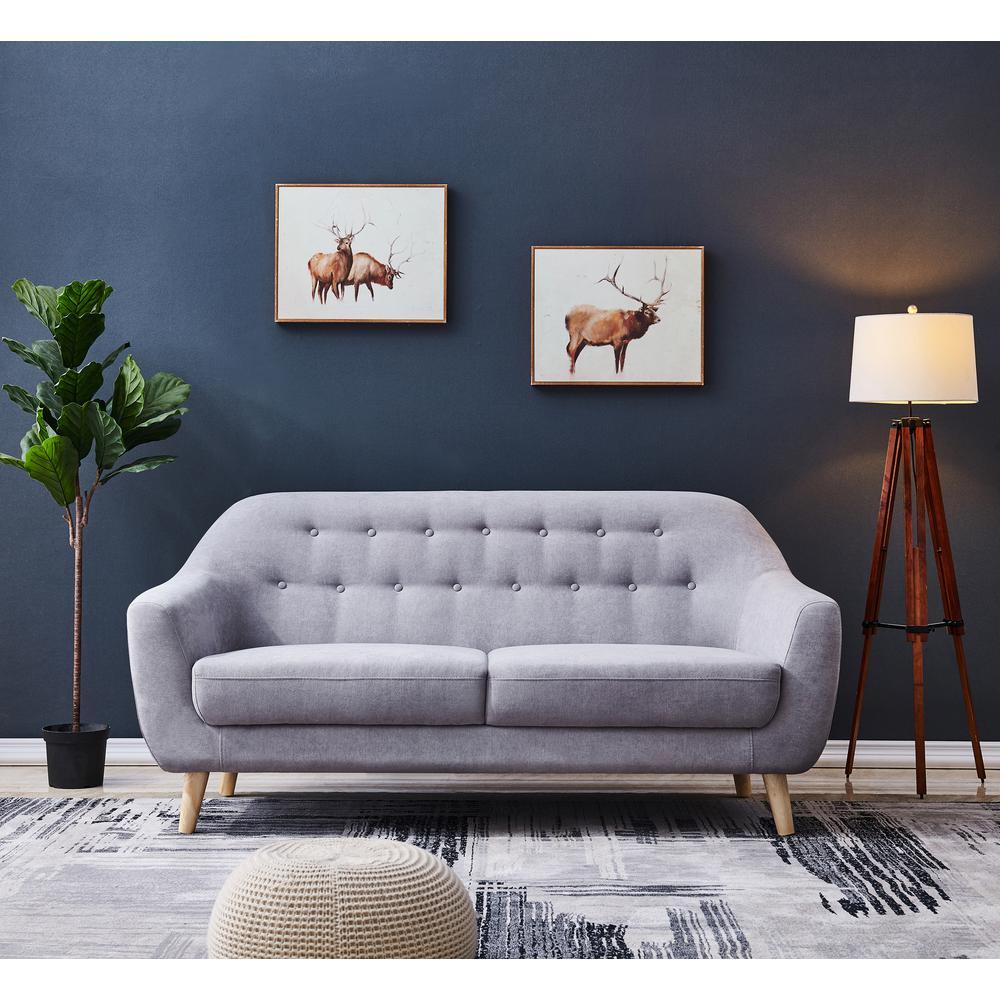 Astonishing Harper Bright Designs Grey Fabric Contemporary Modern Sofa Ncnpc Chair Design For Home Ncnpcorg