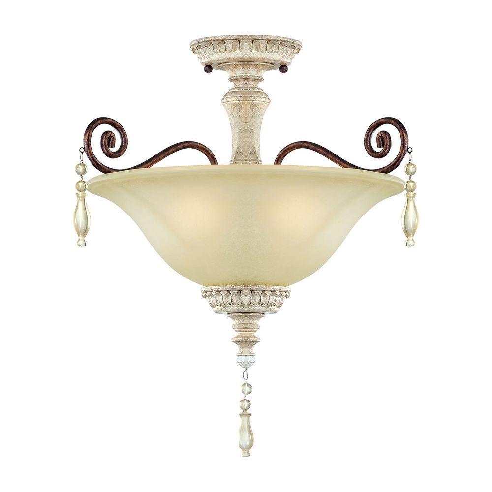 3-Light Antique White/Bronze Semi-Flush Mount Light