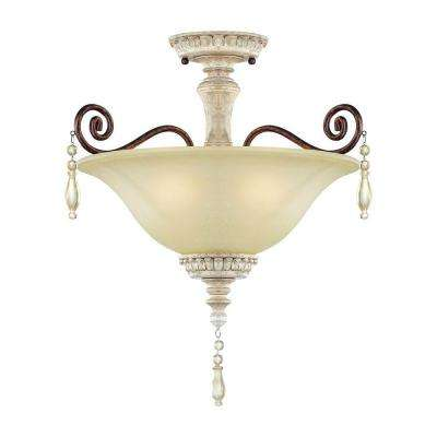 3-Light Antique White/Bronze Semi-Flush Mount Light