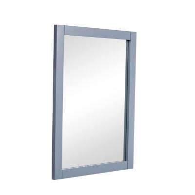 Nanticoke 22 in. Contemporary Mirror with Grey MDF Frame, Rectangle Shape, Mounting Type: Metal Inset Hanger