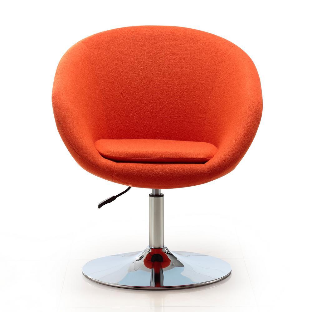Orange Wool Blend Hopper Swivel Adjustable Height Chair