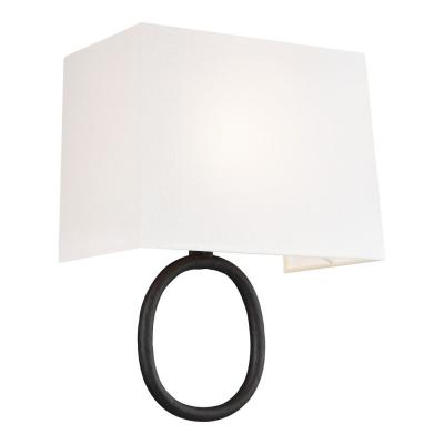 ED Ellen DeGeneres Crafted by Generation Lighting Indo 10.875 in. Aged Iron Sconce with Rectangular White Linen Shade