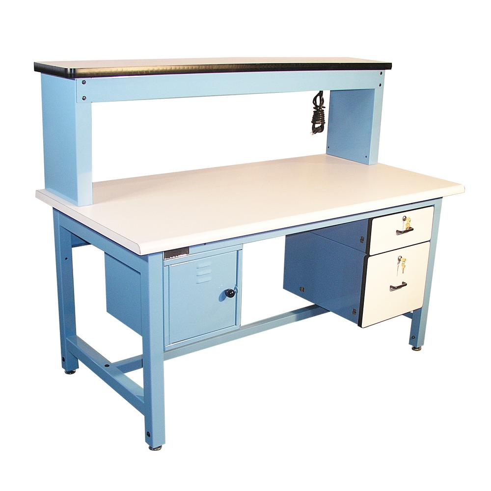 Marvelous Proline 72 In X 30 In Technical Work Bench With Plastic Laminate Surface And Light Blue Frame Bench In A Box Beatyapartments Chair Design Images Beatyapartmentscom