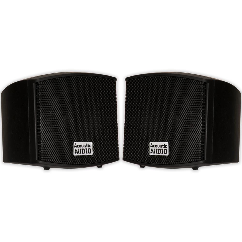 400-Watt Mountable Indoor Speakers Bookshelf Pair in Black
