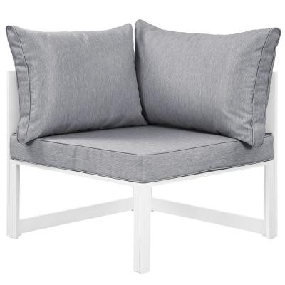 Fortuna Corner Aluminum Outdoor Patio Lounge Chair in White with Gray Cushions