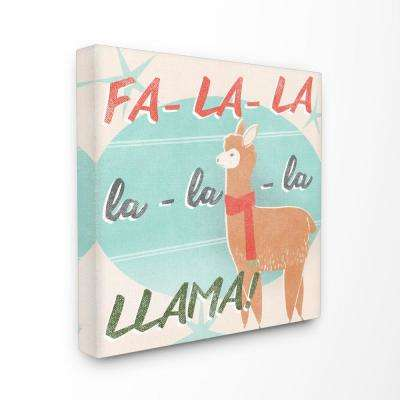 """30 in. x 30 in. """"Holiday Christmas Fa La Llama with Scarf"""" by Artist June Erica Vess Canvas Wall Art"""
