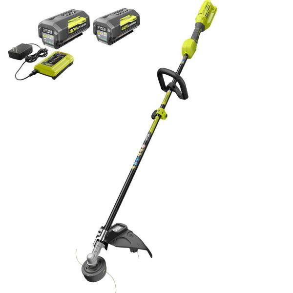 40-Volt Lithium-Ion Cordless Attachment Capable String Trimmer - Two 4.0 Ah Batteries and Charger Included