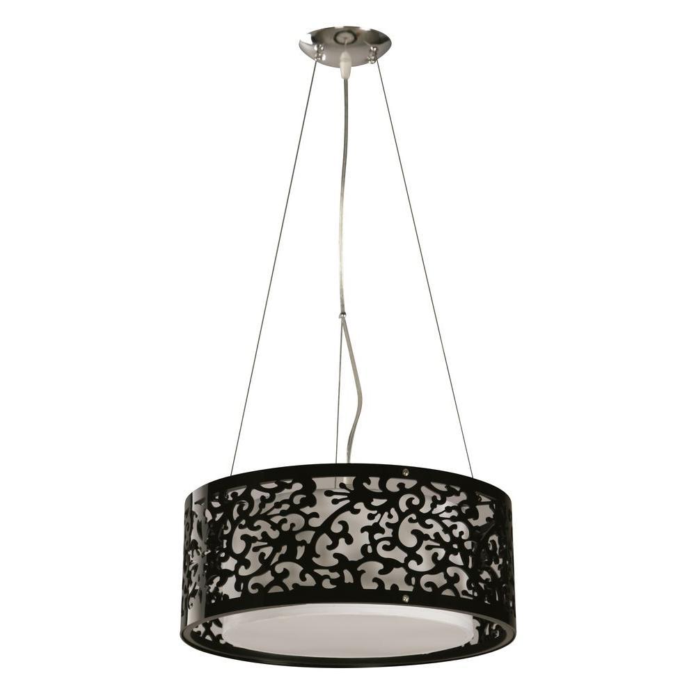 hampton bay 3light black ceiling drum pendant