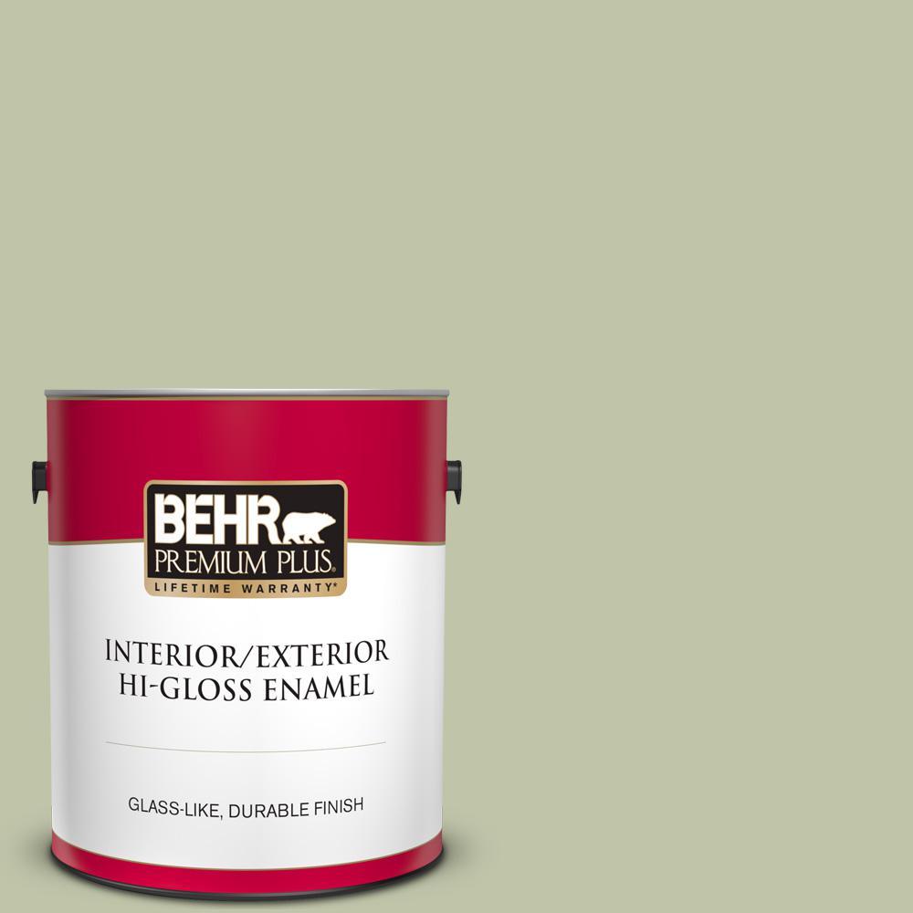 Behr Premium Plus 1 Gal Ppu10 08 Minted Lemon Hi Gloss