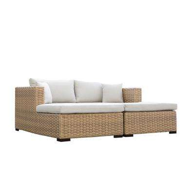 Cabana Wicker Double Patio Outdoor Chaise Lounge Daybed with Beige Cushions