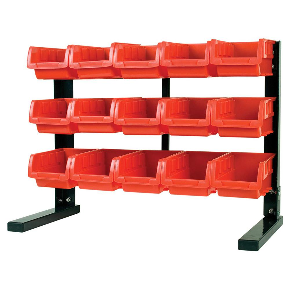 8 in. W Bench or Table Top 15-Bin Parts Rack with