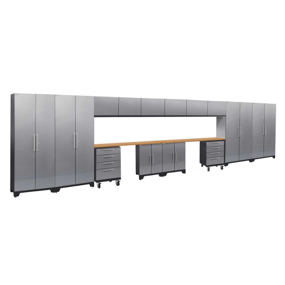 Performance 2.0 Diamond Plate 77.25 in. H x 264 in. W x 18 in. D Steel Bamboo Worktop Cabinet Set Silver (16-Piece)