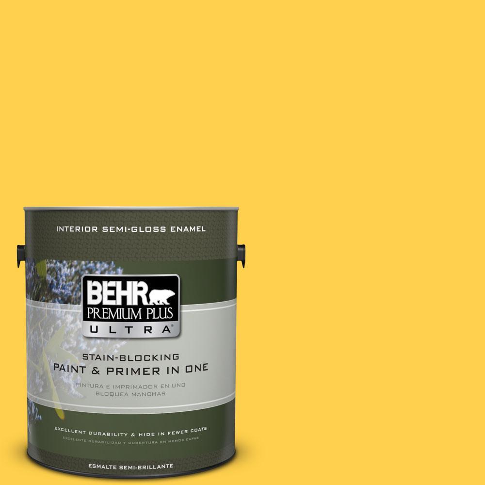 1-gal. #360B-6 Flame Yellow Semi-Gloss Enamel Interior Paint