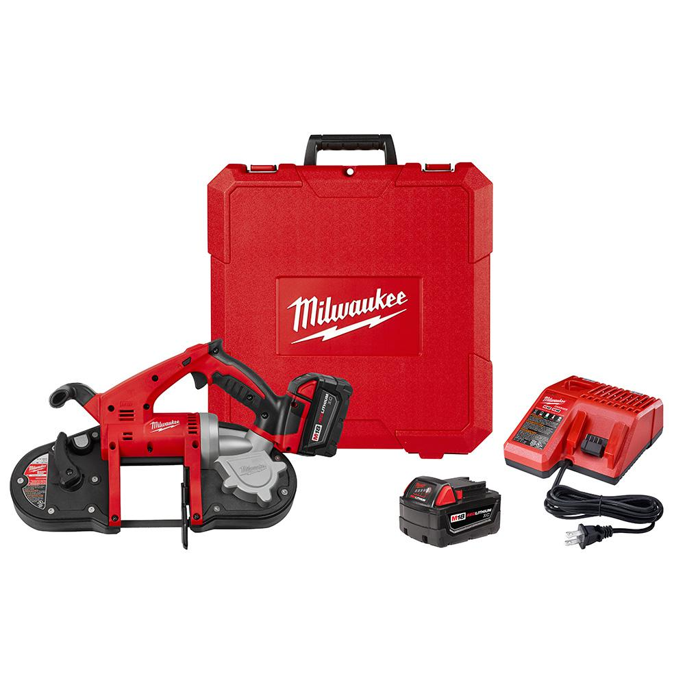 Milwaukee M18 18-Volt Lithium-Ion Cordless Band Saw Kit with Two 3.0 Ah Batteries, Charger, Hard Case